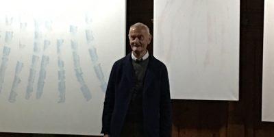 Franco Rota Candiani e alcune opere esposte alla Biennale di Venezia 2019